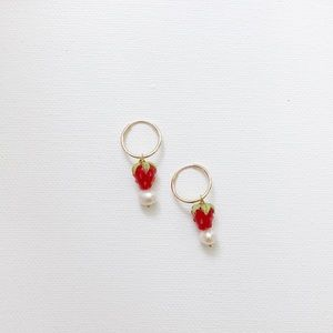 14k gold filled red strawberry infinity hoops